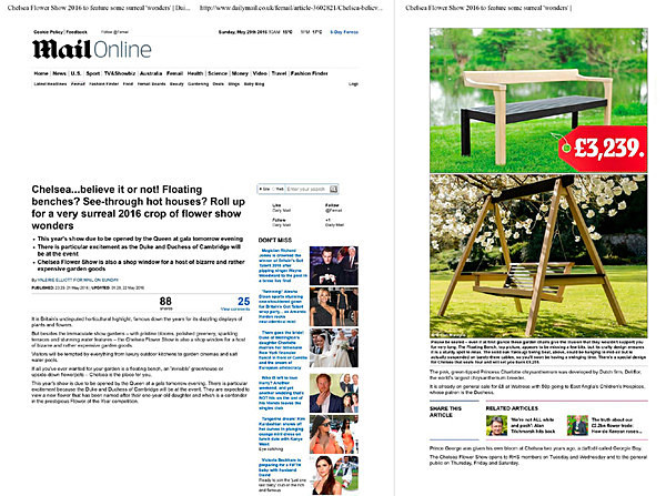 21/05/2016 Daily Mail Article - RHS Chelsea - Published Work