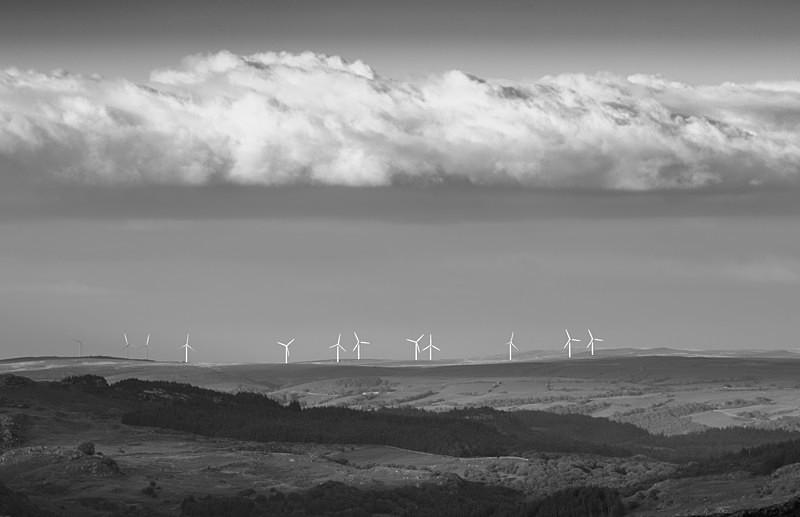 wind turbines, Moel Maelogen, from Cwmffynnon - Fragile Land