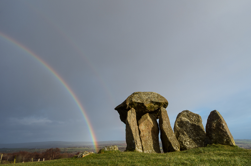 Cromlech, Pentre Ifan, Pembrokeshire, with rainbow.