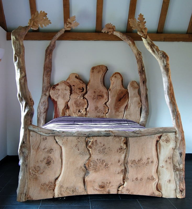 Handmade wooden beds, Bespoke handmade beds, Surreal four poster bed, Fairy tale beds, Wood beds Kent.