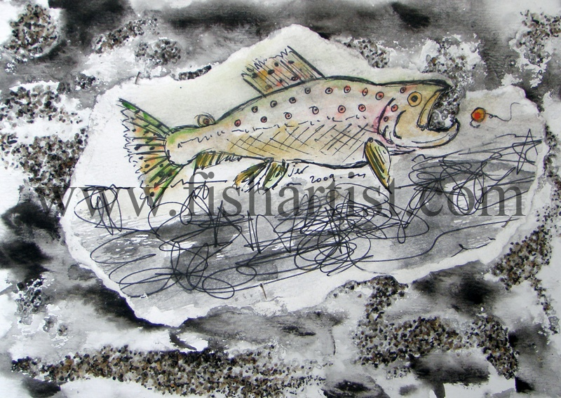 Taupo Early Morning Brown Trout Watercolour. - Watercolours of Taupo Trout.
