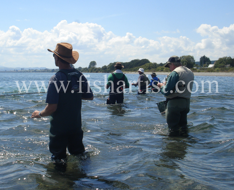 Waitahanui Rip Fishermen. - Trout Fishing - Taupo New Zealand.