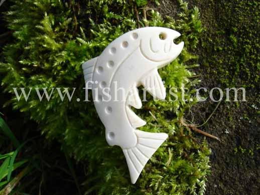 Taupo Trout Bone Carving. - Fishing Bone Carvings.