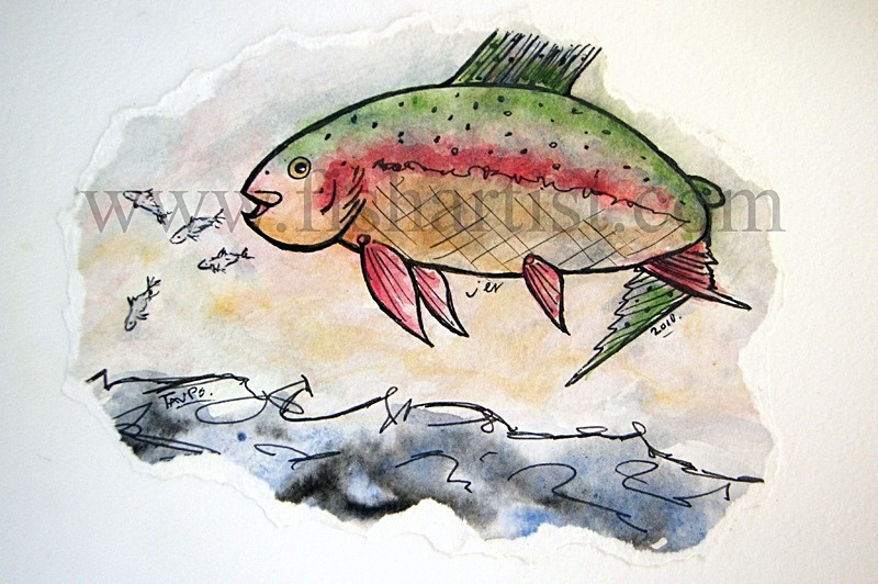 Taupo Trout Chasing Smelt Watercolour. - Watercolours of Taupo Trout.