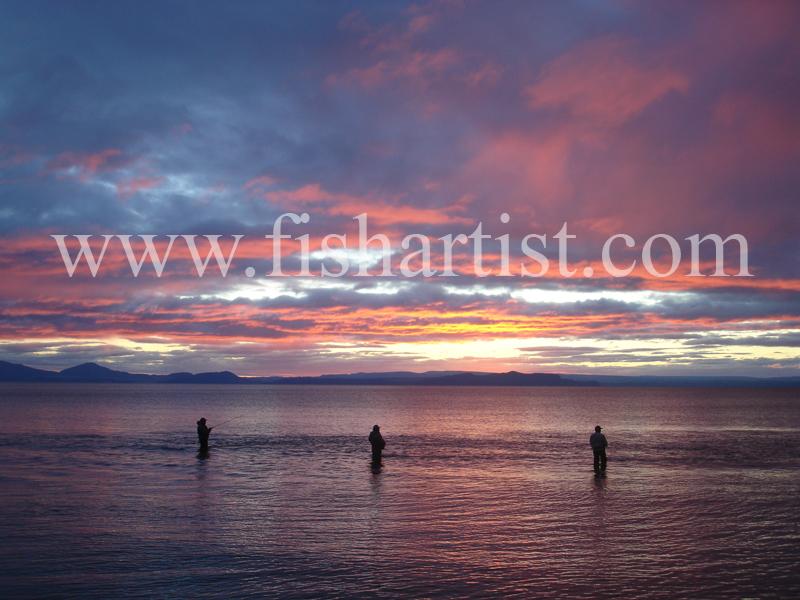 Waitahanui Fishing Sunset. - Trout Fishing - Taupo New Zealand.