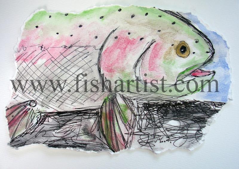 Waitahanui Rip Hen Watercolour. - Watercolours of Taupo Trout.