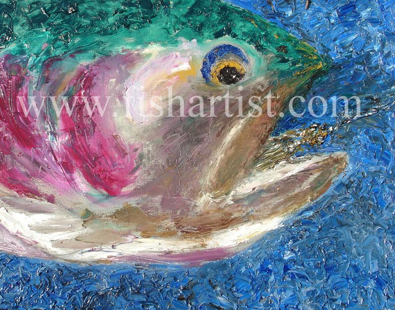 Trout & Cicada - Taupo. - Fish Art for Fishermen.