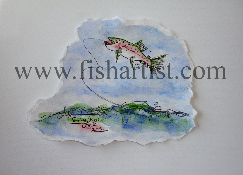 Leaping Taupo Jack Watercolour. - Watercolours of Taupo Trout.