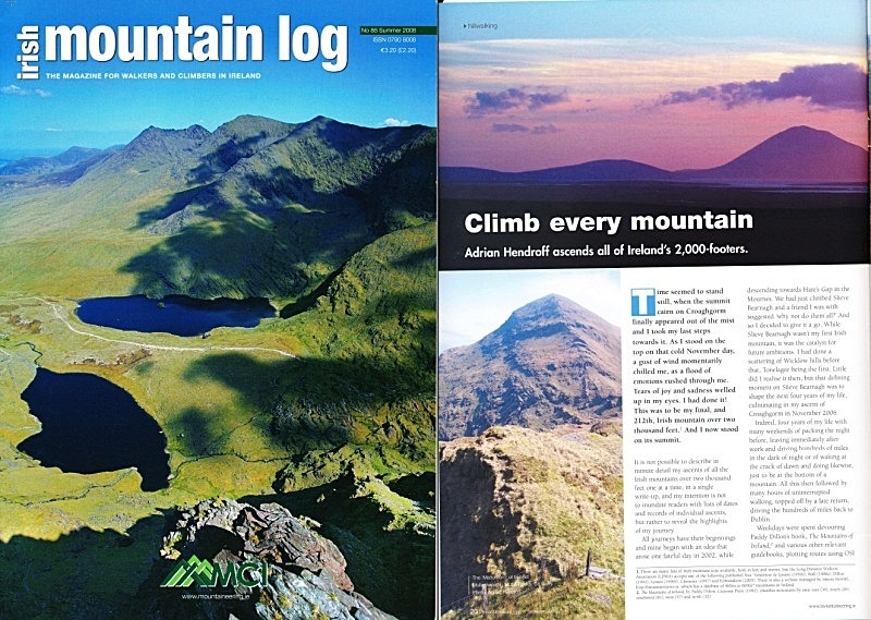'Climb every mountain' - Irish Mountain Log - No.86 Summer 2008 - In the media