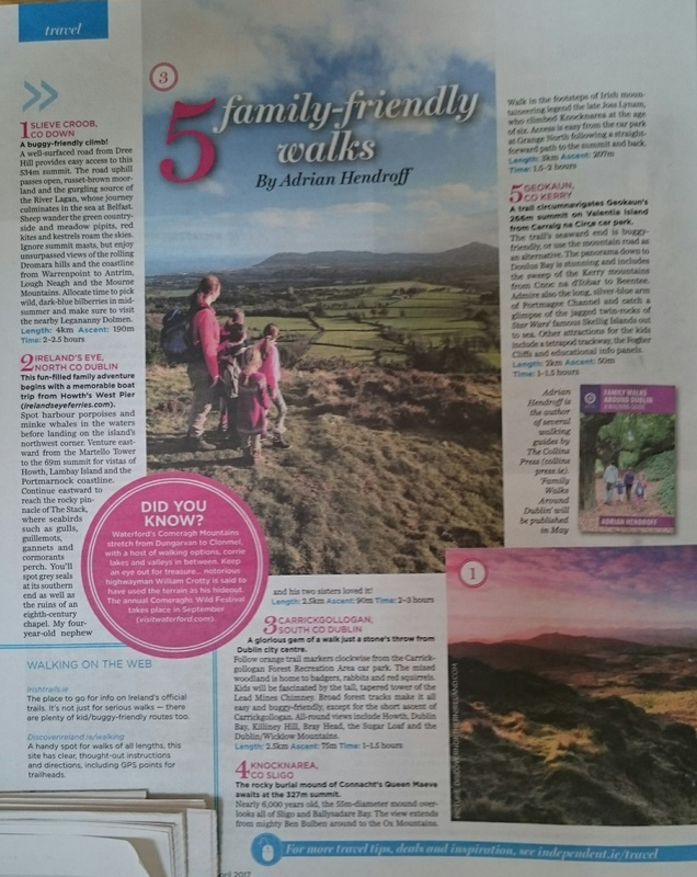 5 family-friendly walks in Ireland -  Irish Independent 3 April 2017 - In the media