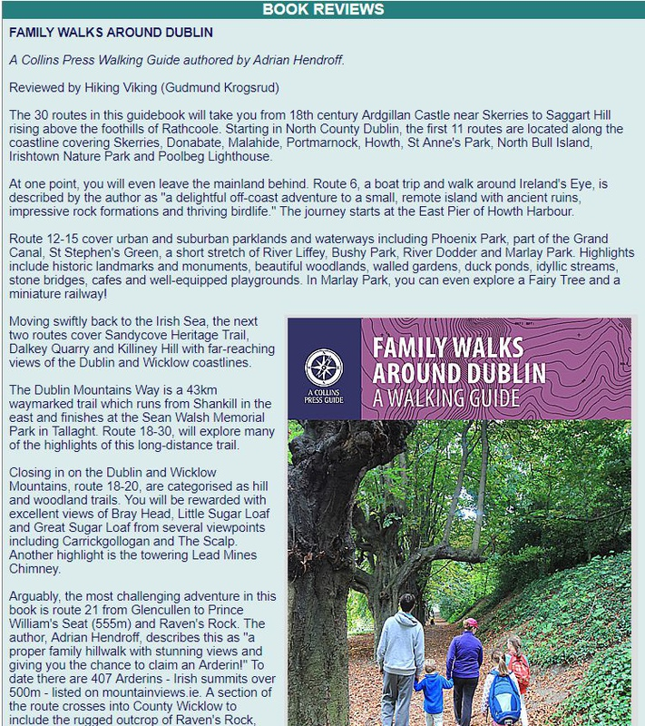 Family Walks Around Dublin review, mountainviews.ie July 2017 - In the media