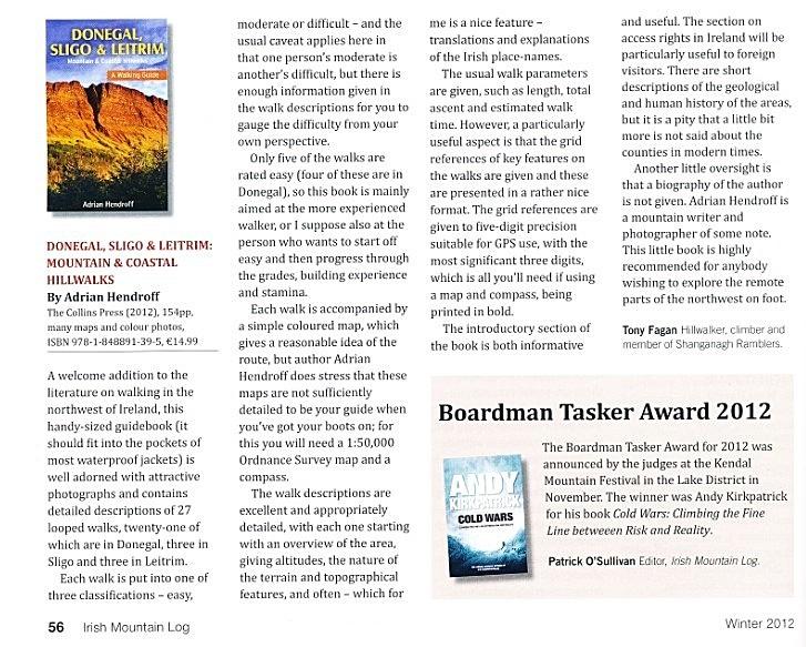 Donegal, Sligo & Leitrim review - Irish Mountain Log - Winter 2012 - In the media