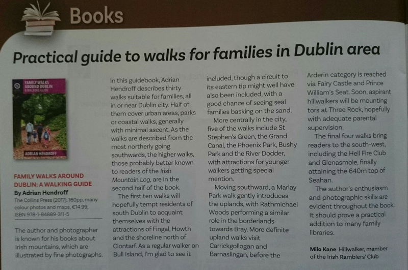 Family Walks Around Dublin review, Irish Mountain Log, Winter 2017 - In the media