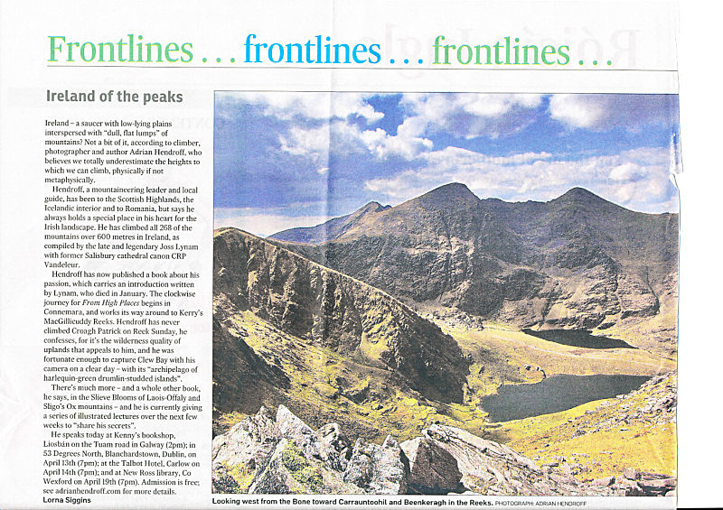 'Ireland of the peaks' The Irish Times, Saturday 2 April 2011 - In the media
