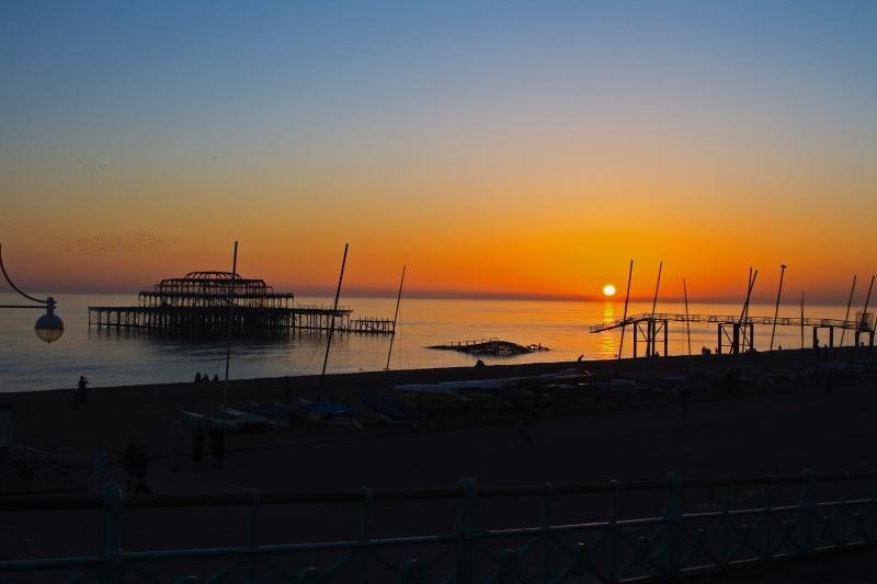 pier sunset brighton calm