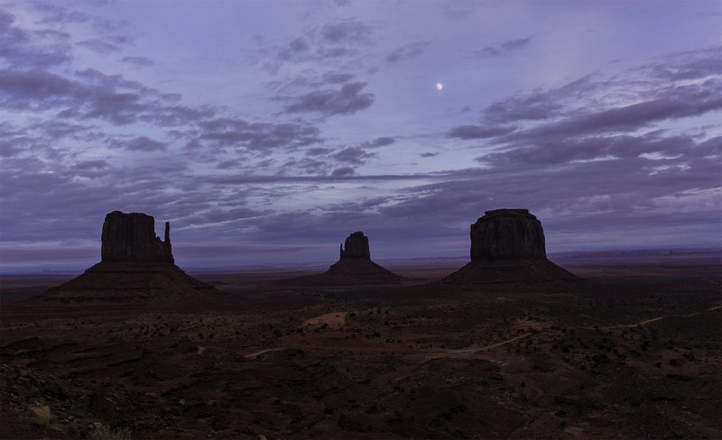 Moon over the Mittens - Monument Valley
