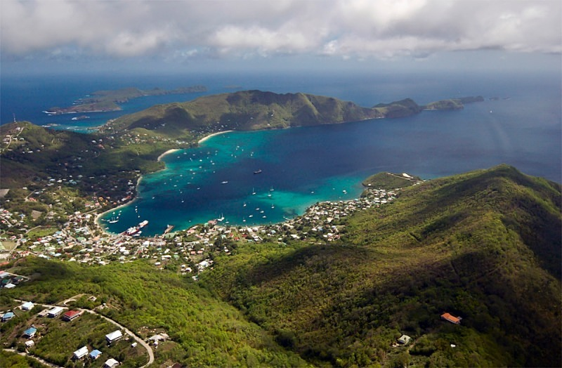 Aerial photography of the western part of Bequia, in the Grenadines