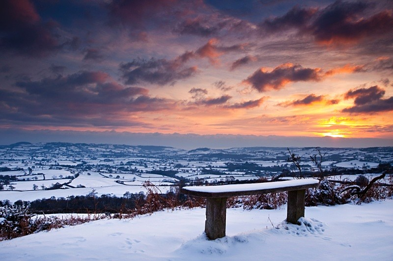 Sunset across the snow covered Marshwood Vale