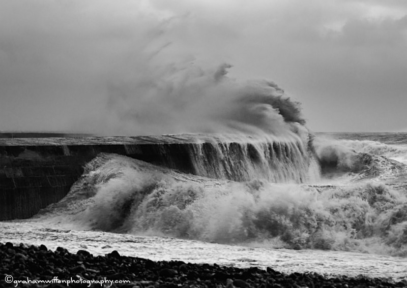 Storm waves crashing over the Cobb B/W - Black and White
