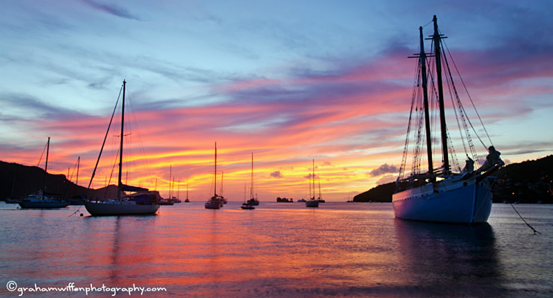 Sunset across Admiralty Bay