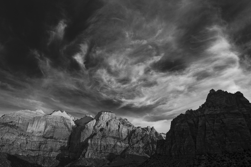 ZION MORNING LIGHT - BLACK AND WHITE LANDSCAPES