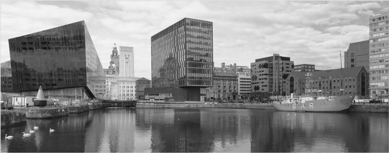 Liverpool skyline in black and white