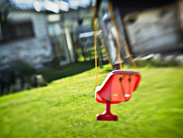 Red Swing on a Spring Morning - The Backyard Series