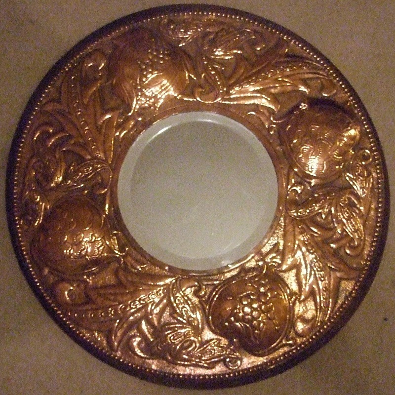 SOLD copper circular repousse mirror attributed to Fivemiletown - Archive sold items