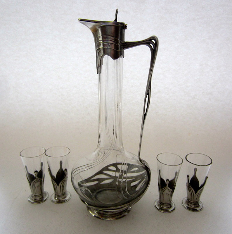 SOLD Orivit art nouveau pewter & glass liqueur  set - Archive sold items