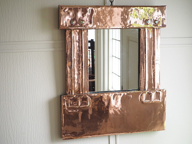 SOLD Arts & Crafts Copper mirror - mirrors