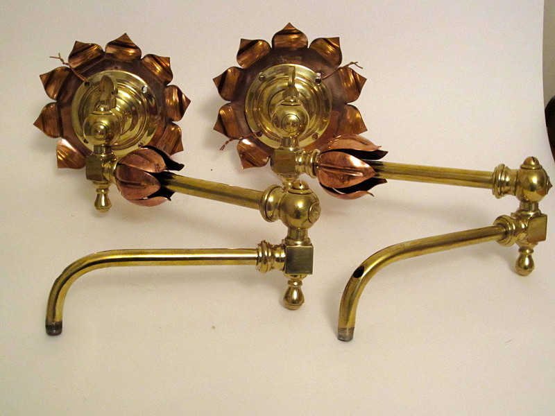 & W A S Benson copper u0026 brass gas light fittings