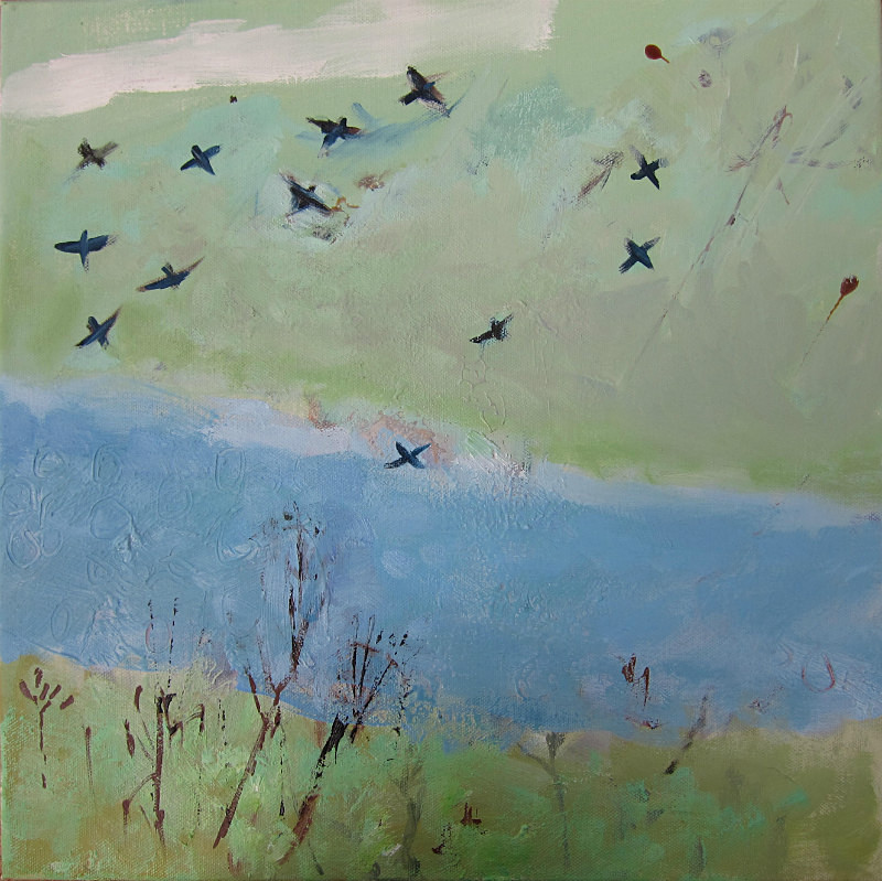 a flock of starlings - paintings from field-sketches