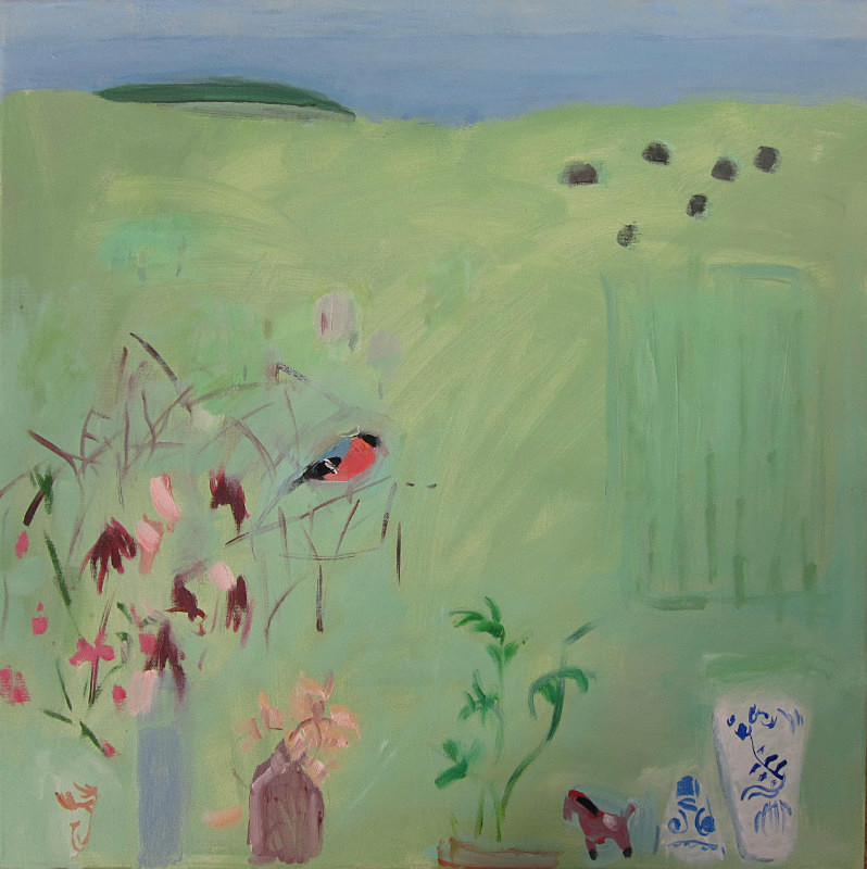 sweet peas, sherds and bullfinch - paintings from field-sketches