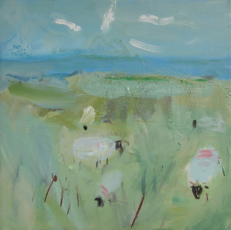 winter sheep and gulls - paintings from field-sketches