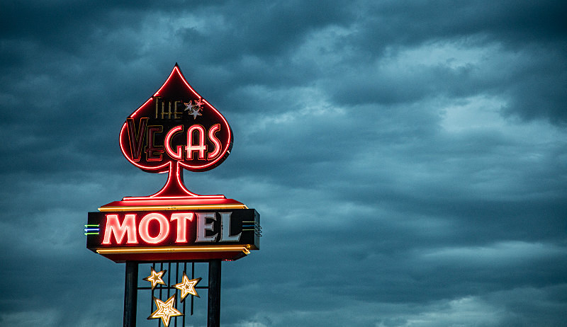 The Vegas Motel at night. - Route 66