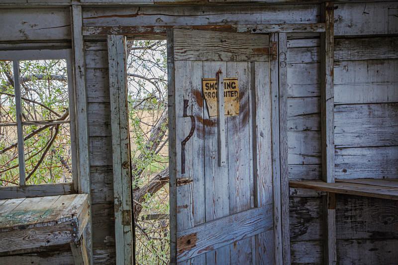 Interior, elevator, Inverness Montana. - Abandoned America