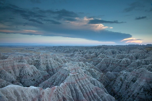 Emerging dawn, Badlands. - American Landscape