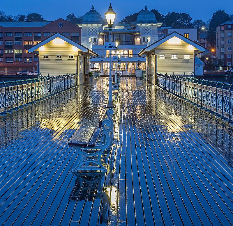 Penarth Pier in rain at night. - Bad Weather