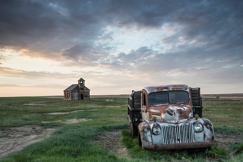 Truck and Cottonwood Church, Montana. - Abandoned America