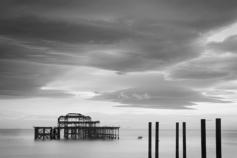 Mono European Brighton Pier - Monochrome Landscape Europe