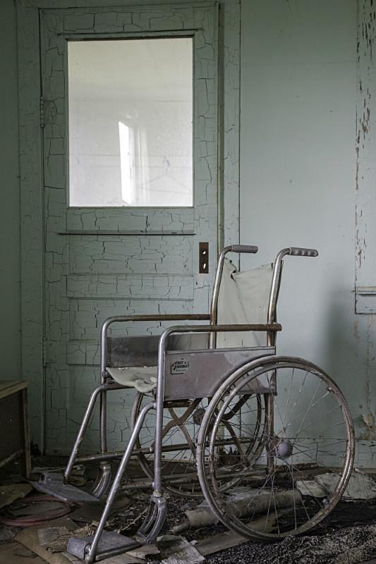 Interior with wheel-car; Nebraska. - Abandoned America
