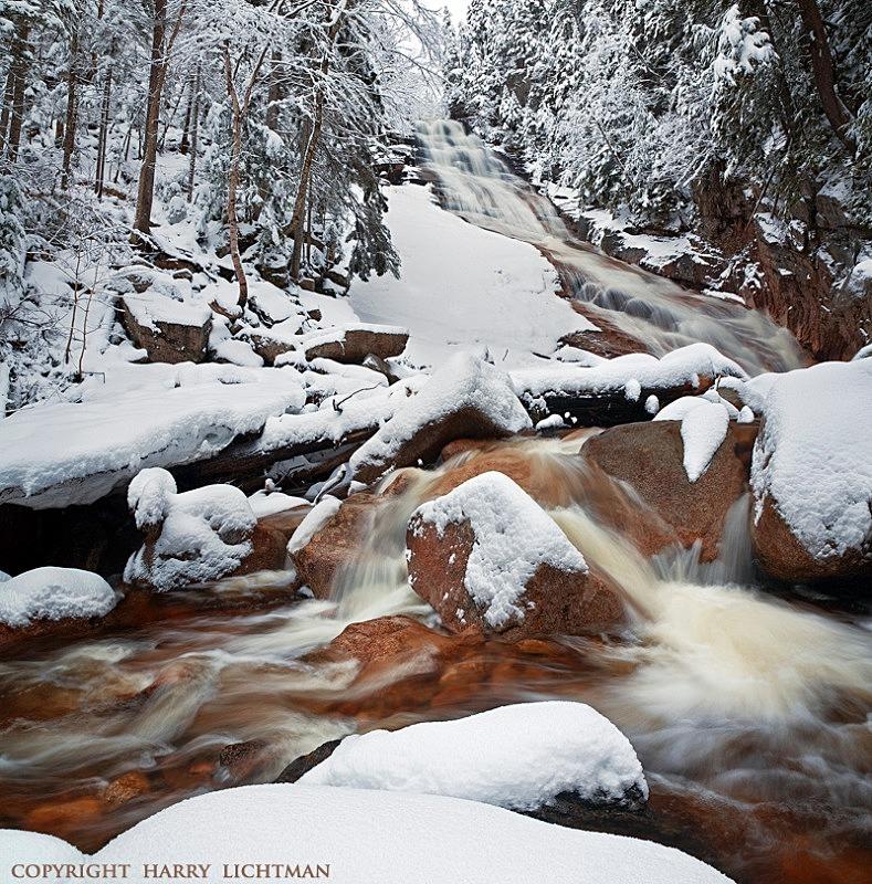 Ripley Falls - Spring Snow - New Hampshire Mountains - Streams - Lakes - & Rivers