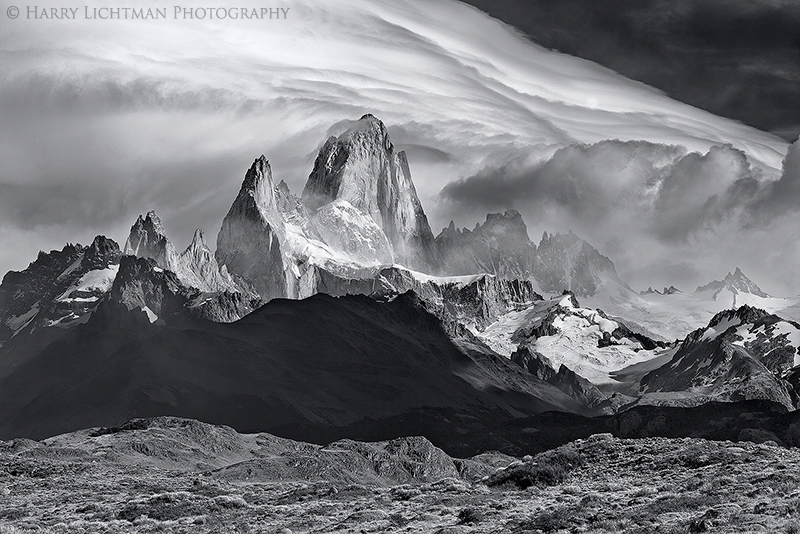 Wind the Ruler (B&W) - Los Glaciares National Park