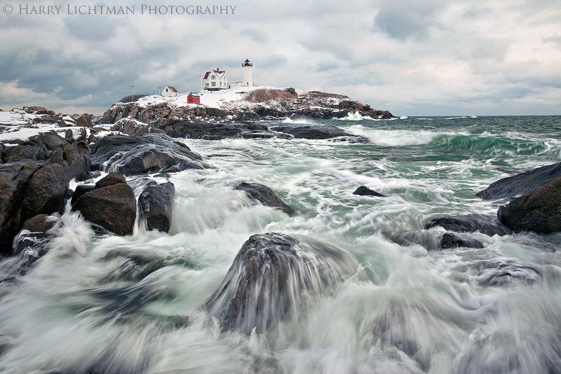 Nubble Light Winter Storm - Maine Coast & Mountains