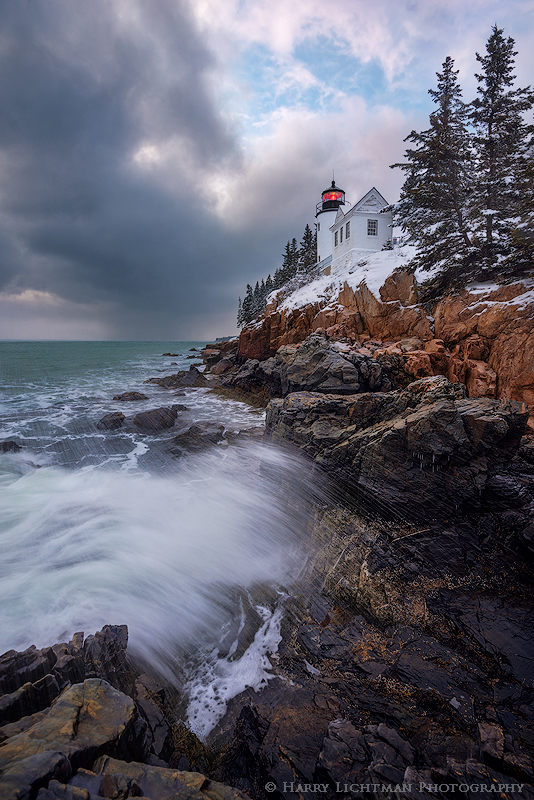 Winter Squall - Bass Harbor Light - Maine Coast & Mountains