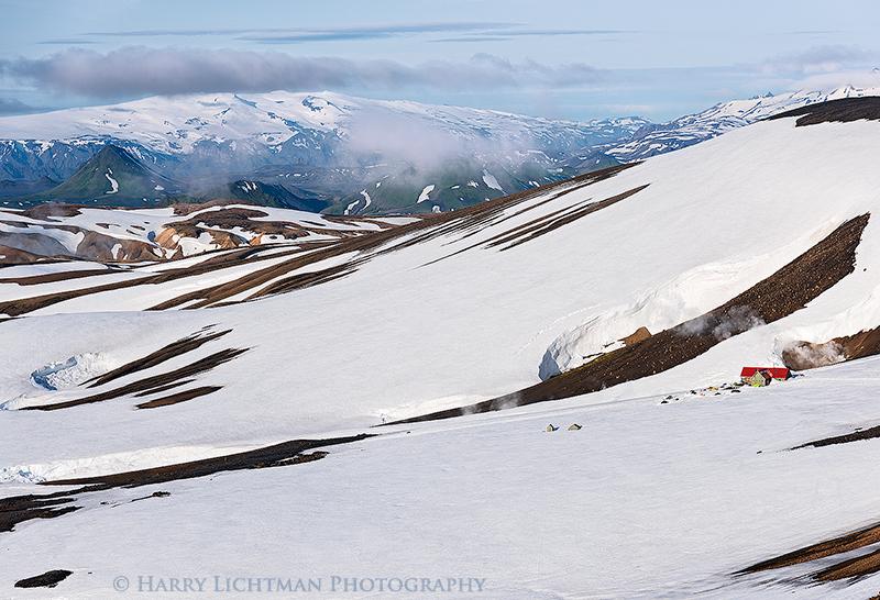Hrafntinnusker Hut & Myrdalsjokull - Iceland from the Trail