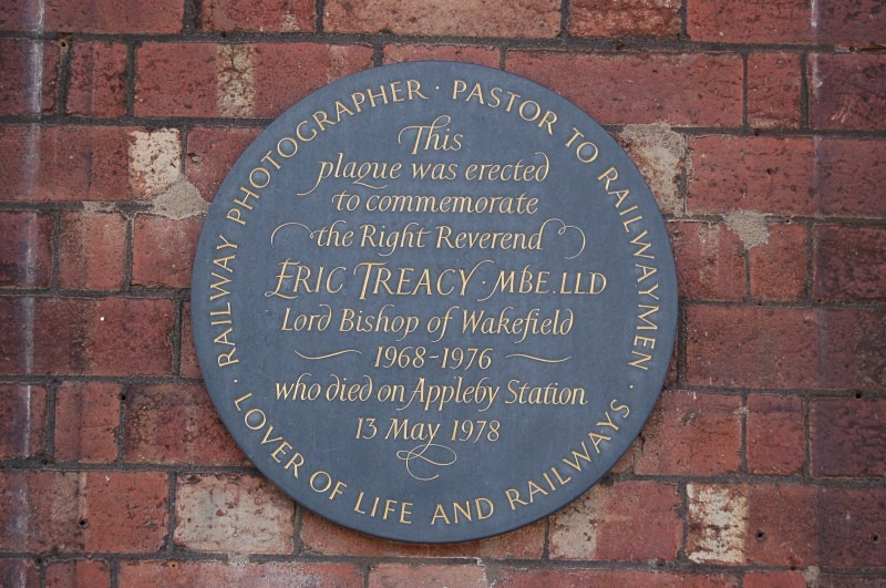 The commemorative Eric Treacy plaque at Appleby station - Appleby