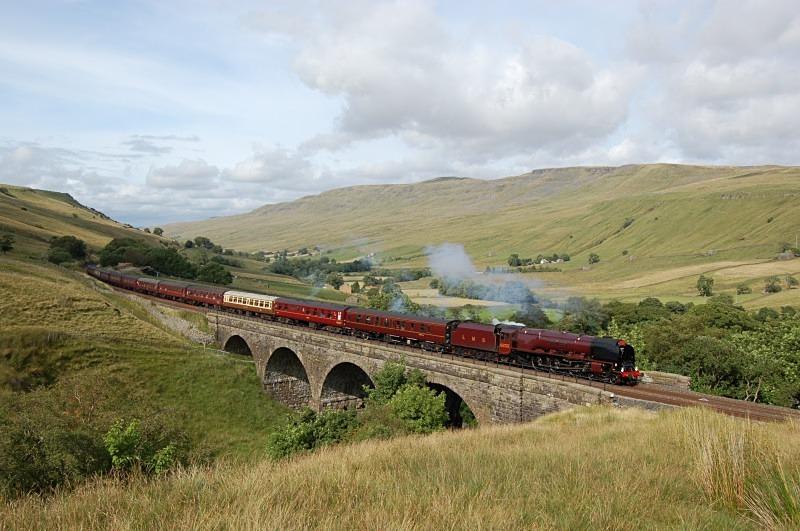 8.8.09 - LMS Duchess No. 6233 1Z47 Carlisle - Crewe, Ais Gill Viaduct - Ais Gill - Viaduct