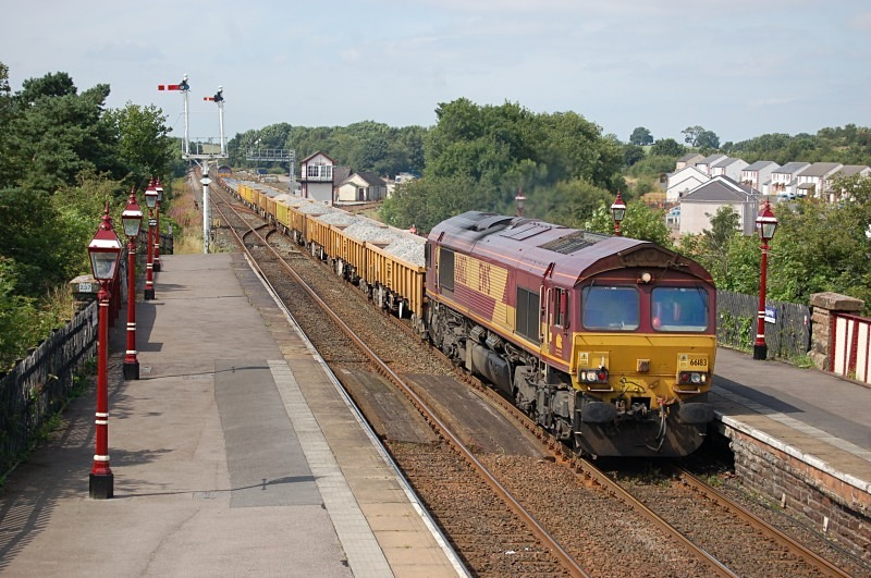 11.8.12 - 66183 & 66021 (rear) 6L43 Carlisle - Hellifield, Appleby - Appleby