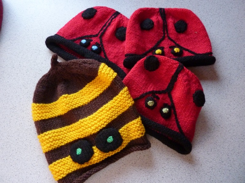 Bee and Ladybird Beanies - Marion Carrier Crafts